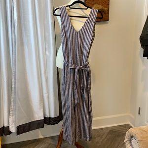 Max Studio V-Neck Stripe Print Waist Tie Jumpsuit